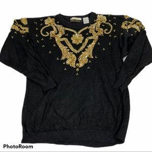 Vintage Dana Scott sweater w/ gold embellishments
